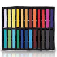 Wholesale 24 Colors Fashion Hair Chalk Fast Non toxic Temporary Pastel Hair Dye Hair Color Set