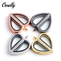 Wholesale Gold Filled Lockets Pendant Necklace with Chains Heart Love Shaped Crystal Inlay Glass Origami Floating Locket Pendant Jewelry Discount