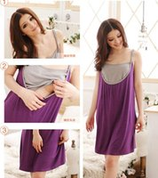 Wholesale New In Fashion Retail Women Maternity Dresses Summer Pregnant Mother Clothes Comfortable Nursing Dress Cotton Purple Orange Free Size