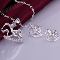 Wholesale fashion jewelry sterling silver necklace romantic white horse two sets Necklace Earrings Set