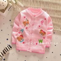 Wholesale Autumn Winter Baby sweaters cardigans Girls fashion cartoon bears letter sweater coat V1709 B