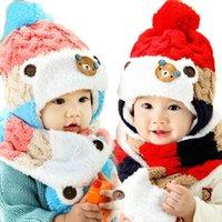 baby velvet yarn - Unisex Baby Infant Add Velvet Bobble Hat Set Children Kids Patchwork Knitted Earmuffs Beanie Cap and Scarf Winter Warm Set MZ2257