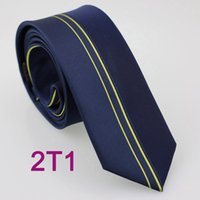 Wholesale BRAND NEW COACHELLA Business ties Men s Slim Tie New Design Navy Blue With Gold Vertical Stripes Microfiber Jacquard Woven Necktie SKinny