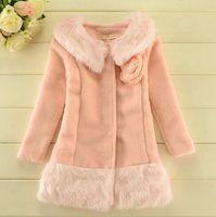 Cheap Free shipping! Girl's Cotton Woolen Autumn Winter Coat Children Cloth Fur Coats Jackets Overcoat