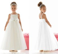 baby dreses - Sweety White Flower Girl Dreses Handmade Flower Spaghetti Strap Ribbons Sleeveless Wedding Party Gowns For Kid Baby Girl Pageant Dress ZYY