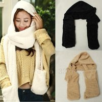 Wholesale New Winter Fashion And Warm Hats For Women Gloves Triad Hat and Scarf Set For Women Colours