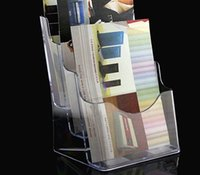 acrylic brochure - Clear A5 Three Tiers Pamphlet Brochure Literature Plastic Acrylic Display Holder Stand To Insert Leaflet On Desktop By Express