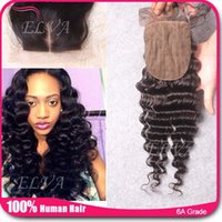 Cheap Deep wave Silk Base Closure Best Lace Closure Bleached Knots