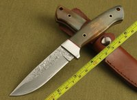 Wholesale Damascus Bull Buffalo Horn Handle Fixed blade Survival Knife Tactical hunting knife camping knife knives GDF045