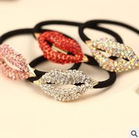 Wholesale Fashion Women Jewelry Hair Accessories Rhinestone Lip Elastic Hair Bands Glitter Headbands