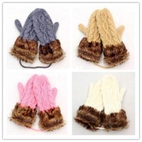 Wholesale Fashion Hot Cute Ladies Girls Mitten Knitting Wool Fur Halter Wrist Winter Warm Gloves