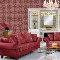 asian room decor - Designer Asian style Engineering Lattice textured vinyl wall paper Hotel corridor background decor