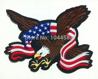 applique flag large - High Quality Extra Large Size USA Flag Flying Eagle cm x cm Iron on Patch Embroidered Iron on Patch Applique B