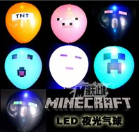 led balloons - Minecraft Balloon New inch Minecraft LED Light Balloons Latex Creeper balloon Minecraft Party Decorations supplies DDA3105