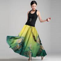 Cheap 2015 Fashion New Summer Bohemia Womens Boho Peacock Print Beach Maxi Flower Elastic Waist Full Long Skirt