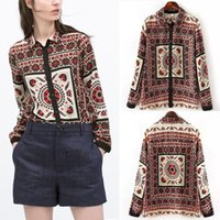 baroque blouse - 2015 Fashion Trendy Vintage Baroque Women Ethnic Geometry Print Long Sleeve Turn down Collar Shirt Blouse Tee Tops