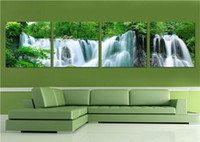 wall decor art canvas - 4 Piece Canvas Art Wall Decor Painting Craft Waterfall Landscape Decoration Paintings Without Photo Frame For Living room Hanging Decor