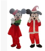 Mickey mayor-Navidad y Minnie del ratón de dibujos animados mascota de carácter EVA traje tamaño adulto de color rojo para el vestido de lujo del partido de Navidad