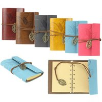 best spiral notebooks - Best PC Vintage Colors Leaf Lock PU Leather Cover Spiral Blank Notebook Journal Diary Gift I eat