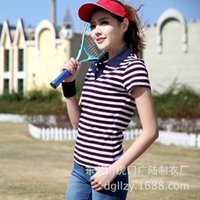 Wholesale Casual style large size Women short sleeved Polo shirt pinstripe breathable cotton female shirt