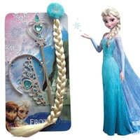 Wholesale Frozen The new cartoon girl child Frozen Crown Princess Aisha Anna Elsa magic wand fake braided hair ornaments