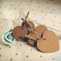 Wholesale Kraft Paper Blank Heart Shape Gift Tag Retro Hang tag price tag message card gift cards