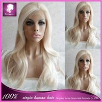 Wholesale Sunny Grace color blonde natural straight Malaysian glueless full lace wigs for white women with baby hair transparent lace