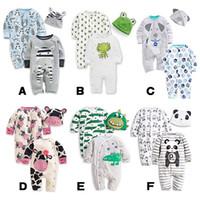al por mayor mamelucos animales del bebé-mamelucos del bebé de la manga larga de algodón mameluco infantil del bebé animal de dibujos animados bebé recién nacido ropa 2 romper + hat 3pcs de la ropa B001