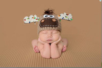 Wholesale 15 off Moose Hat with christmas lights newborn christmas hat photo prop newborn boy and girl christmas reindeer hat drop shipping