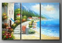 bay paintings - hand painted modern Wall home decor Canvas oil painting Beautiful bay new Seascape Landscape oil paintings Set a254