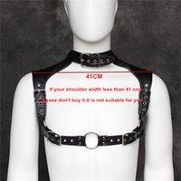 leather sex wear - Black Faux Leather Chest Harness Belt Sexy Men s Costumes Slave Body Harnesses Restraint Lingerie Sex Wear For Gays SM Bondage Dress
