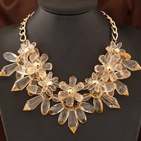 Wholesale 2015 Fashion Bohemian Necklaces Gorgeous Crystal Flower Necklace Vintage Choker Statement Necklace Fashion Jewelry