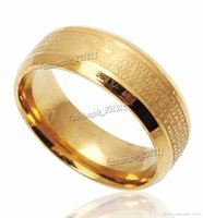 american prayer - Stainless Steel Etched Spanish Lord s Prayer Cross Wedding Gold Band Ring Size New