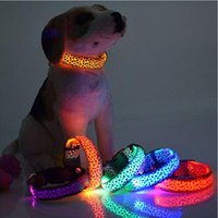 Wholesale LED Dog Collar Safety Leopard Design Nylon Night Light Necklace For Dog Cat Glowing in the dark Flashing Pet Decor Producto L007