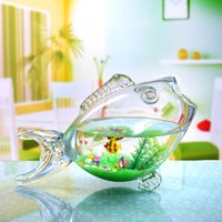 glass fish bowl - zibo handmade glass fish shape bowl
