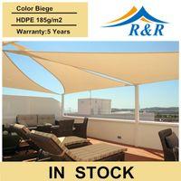 balcony sun shades - In stock x5x5m HDPE Triangle shade cloth sun shade sail curtain for park patio balcony swimming pool cafe