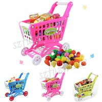 Wholesale Hot High Simulation Shopping Cart with Many Items Patterns Pretend Play Furniture Stroller Toys Gift for Children Kids OAA00021