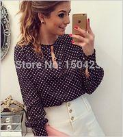 Cheap FG1509 Plus Size Blusas Femininas Blusa De Renda Polka Dots Vintage Blouse Long Sleeve Women Blouse