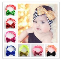baby christmas hair accessories - 12 Color Infant Bow Headbands Girl Christmas Headwear Kids Baby Photography Props NewBorn Sequins Hair Accessories Baby Rhinestone A1B2C7