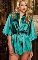 Sexy babydoll sleepwear xl - 4 Color Hot Seller S XL Plus Size Sexy Lady Satin Mid Sleeve Bowtie Bow Robes Lingerie Babydoll Lace Night Sleepwear Bathrobe