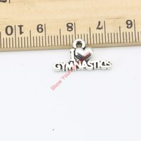 Wholesale 30pcs Antique Silver Plated I Love Gymnastics Charms Pendants for Jewelry Making DIY Handmade Craft X20mm Jewelry making DIY