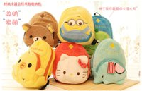 Wholesale baby Bags cute Minions cartoon modelling children shoulders Backpacks plush kids coin purse