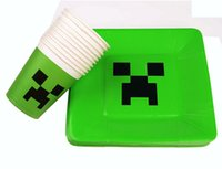 Wholesale Minecraft Paper Plates One time Environmental Protection Paper Cups Paper Plates Minecraft Creeper JJ Plate Party Supplies