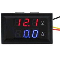 Wholesale RETAIL DC Volt Amp Dual display Meter quot DC V A Red Blue Voltmeter Ammeter With Ampere Shunt Red Blue LED Display