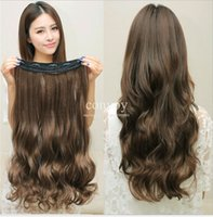Wholesale Womens Long Wavy Curly Wig Hair Extensions Clip in on Synthetic Hair Extensions Hairpiece Hair Wig Accessories cm inch colors FL07