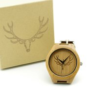 acrylic deer head - Fashion Antique Genuine Cowhide Leather Band Wooden Watch Lovers Luxury Buck Watches Zebra Wood Bamboo Wristwatch with deer head Gift Box