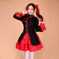Wholesale Sexiest Outfit Japan - Wholesale-Free Shipping Red Black Women Sexy Japan Japanese Lolita Maid Dress Cosplay Costume Outfit