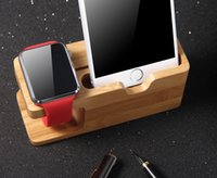 Wholesale Free DHL new Bamboo Wood Charging Stand Bracket Docking Station Stock Cradle Holder for All Apple Watches iPhone S Smart Phones