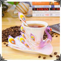 tea cups - Porcelain enamel Mugs peacock coffee cup tea set cup fashion ceramic fashion colored drawing set creative tea cup