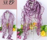 Wholesale color Organza shawl scarves flower wedding shawl Lace bevel scarf CM